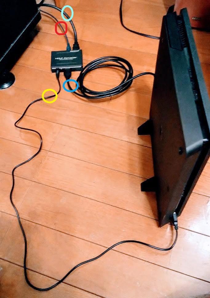 PS4・分離器・アンプ・テレビへの全体で見た配線